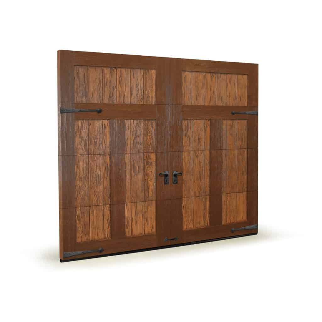Faux wood garage doors with sound absorbing foam insulation.