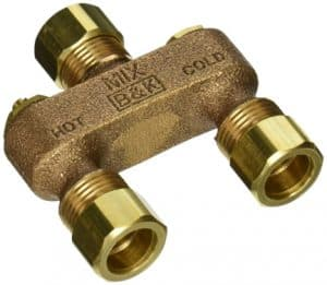 Anti-sweat valve mixes hot water with cold. Buy on Amazon