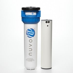 Nuvo H2O salt-free water softener with a cartridge.