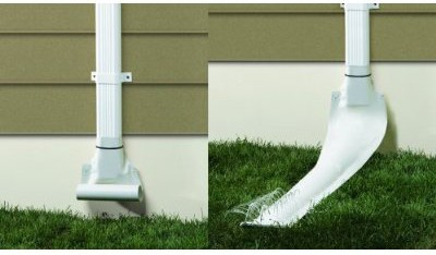 Automatic recoiling downspout.