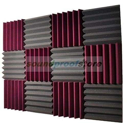 A panel of square foam soundproofing panels in purple and grey.