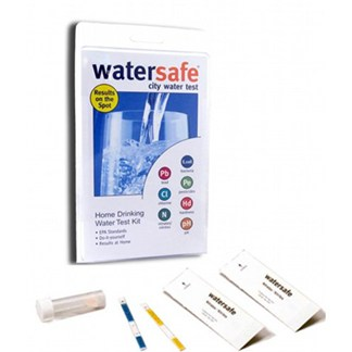 A Watersafe home drinking water test kit showing the test strips and a test vial.