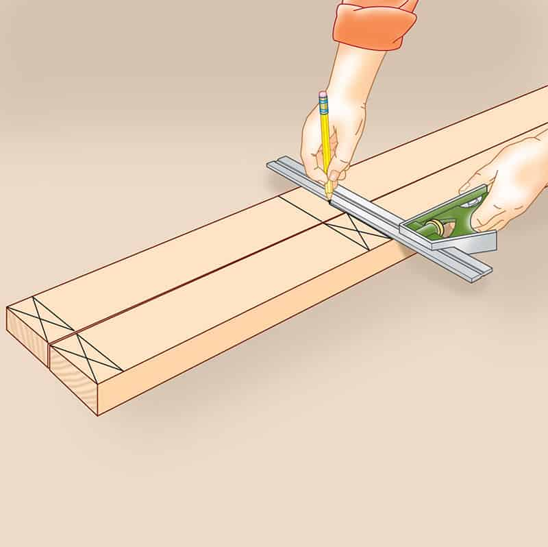 Man's hand above the top and bottom plates laid side by side, making perpendicular lines using a combination square.
