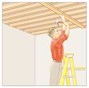 Man standing on a step ladder, nailing a top plate to a joist.