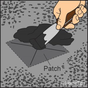 built-up roof repair with patch