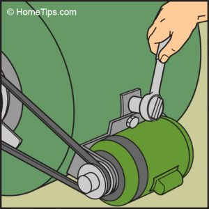 Diagram of a hand loosening the motor mount with a socket wrench.