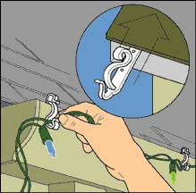Drawing of a hand stringing Christmas lights into plastic gutter clips.
