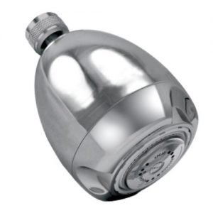 Low-flow shower head gives a sturdy spray, using only 1.25 gallons per minute.