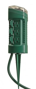 An outdoor power stake with 6 power outlets, built-in timer, and 6-foot cord.