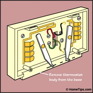 Parts of a conventional thermostat base, including terminals.