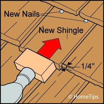 tapping wood shingle in place