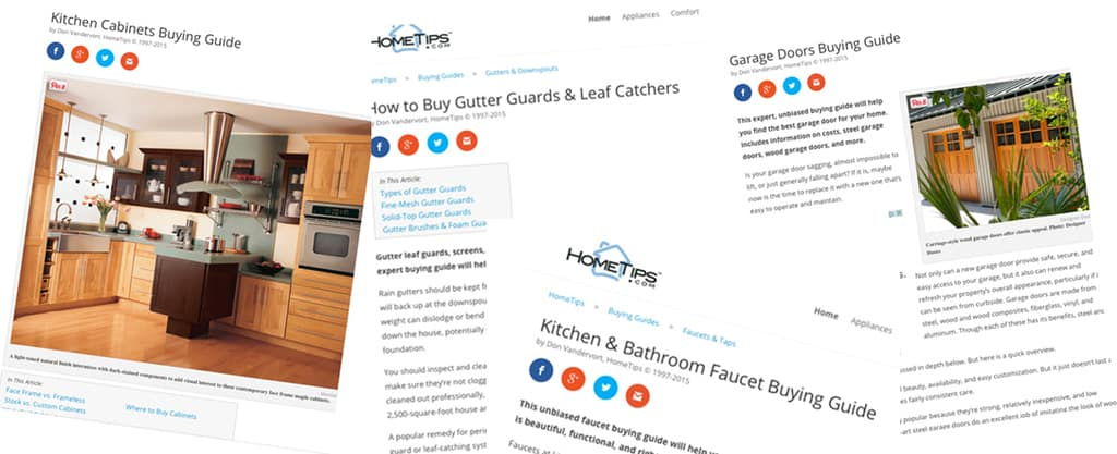 HomeTips web site pages