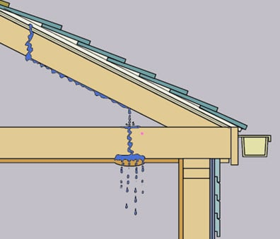 Internal diagram of a roof, including water leaking through a shingle, sheathing, roof rafter to a topside ceiling.