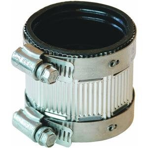 Fernco no-hub coupling with stainless steel band clamps.