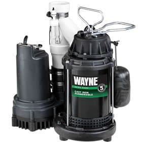 This sump pump system has a primary plug-in pump and a secondary pump that runs on a 12-volt battery. Photo: Wayne