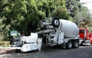 Concrete can be pumped through heavy duty hoses from the street to job site.
