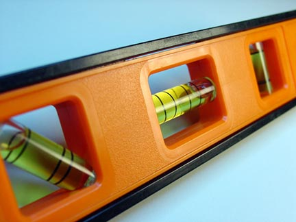 Spirit level including horizontal, vertical, and 45° vials.