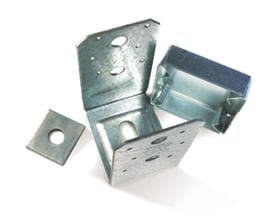 Stainless steel post anchor including a square washer and a stand-off plate.