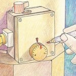 Illustration of a hand marking a water heater temperature control dial with a felt-tip pen.