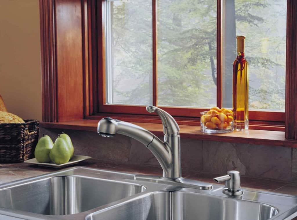 Stainless-steel sink is both practical and beautiful.