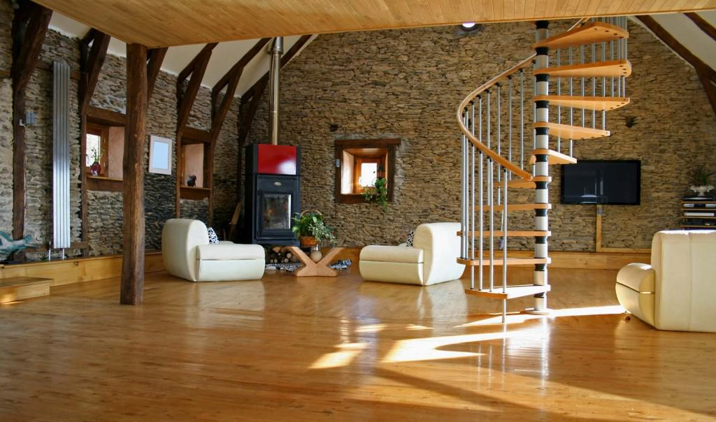 spiral stair from steel and wood