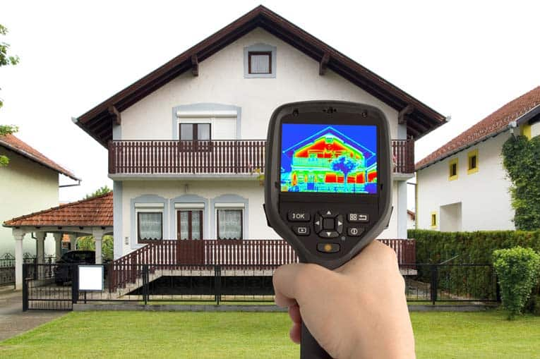 Infrared detector spots all of the places where heat leaks out of a house.