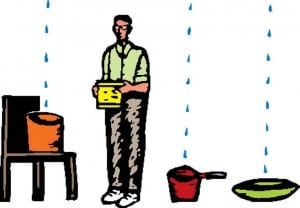 Drawing of a man placing pans beneath lines of dripping water.