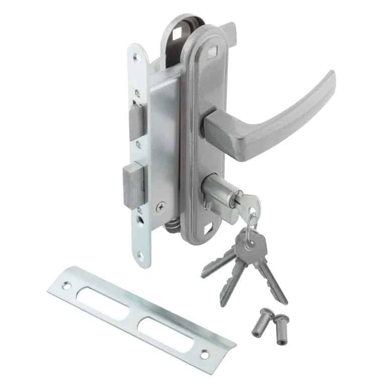Mortise lockset for an exterior door is made to insert into a rectangular cut-out in the edge of the door.