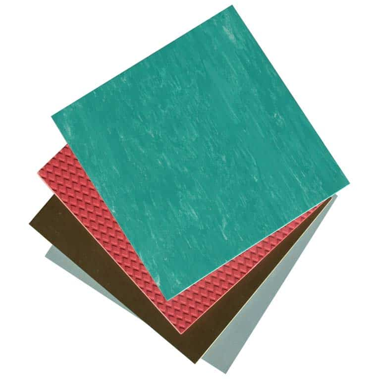Resilient flooring is made from many different materials, including vinyl, rubber, linoleum, composites, and more.