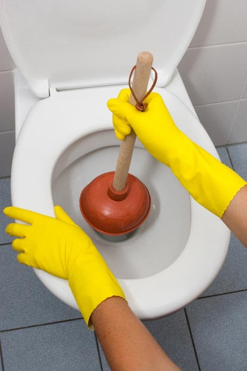 plunging a clogged toilet