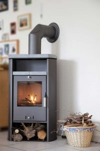 Modern wood stove offers clean lines and efficient heating.
