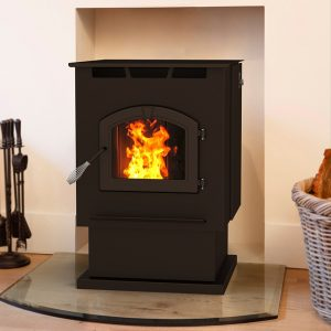 pellet stove with fire installed in alcove