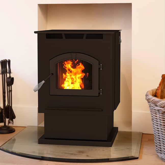 Installing a pellet stove involves connection to a flue and air intake duct.