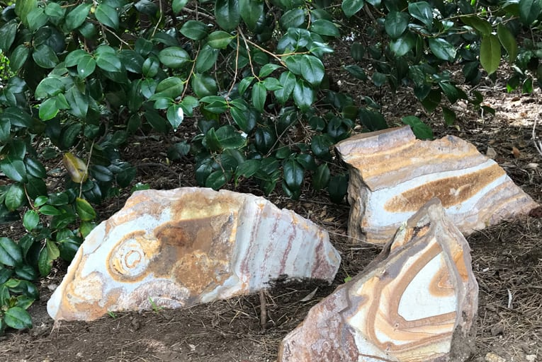 natural stones with swirling patterns