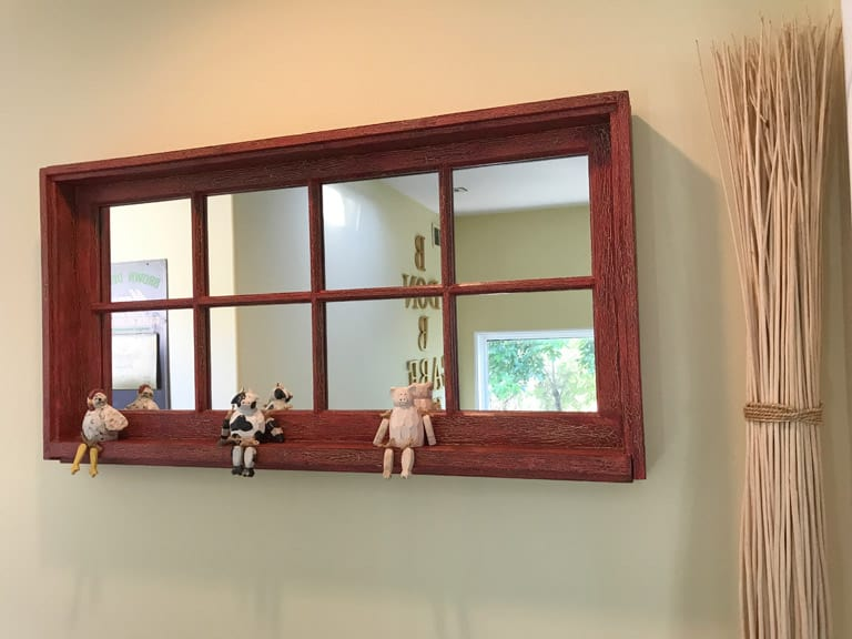 old window with mirror panes