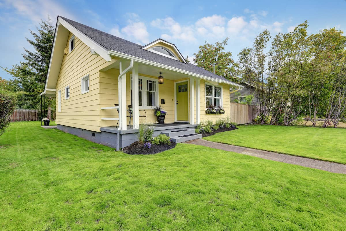 Small American yellow house exterior